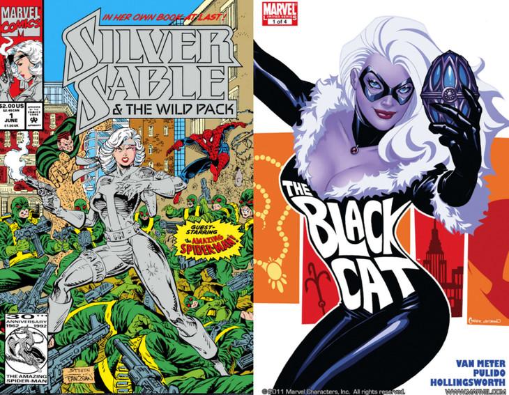 「Silver Sable & The Wild Pack (1992-1995) #1」表紙(左)と「Amazing Spider-Man Presents: Black Cat #1」表紙(右)。