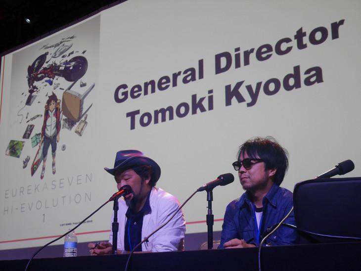 上映後のトークショーに参加した京田知己(右)。