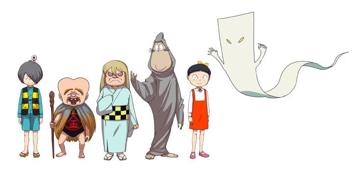 左から鬼太郎と目玉おやじ、子泣きじじい、砂かけばばあ、ねずみ男、ねこ娘、一反もめん。