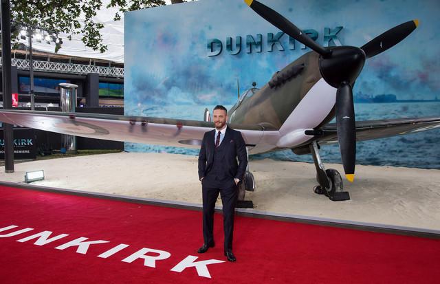「ダンケルク」ワールドプレミアにて、スピットファイアのパイロット・ファリア役のトム・ハーディ。