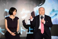 「ダンケルク」大ヒット記念イベントの様子。左から高樹千佳子、加藤一二三。