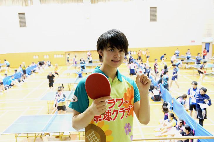 卓球大会に初出場した佐野勇斗。