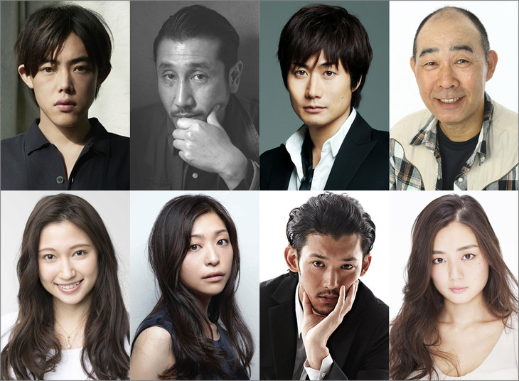 「TANIZAKI TRIBUTE」キャスト。上段左から時計回りに、吉村界人、渋川清彦、戸次重幸、でんでん、片山萌美、淵上泰史、内田慈、大野いと。