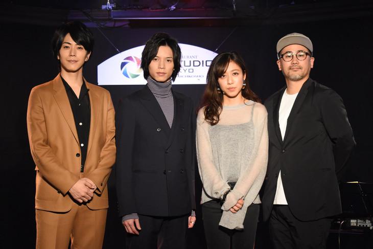 「爪先の宇宙」主題歌披露試写会の様子。左から廣瀬智紀、北村諒、桐嶋ノドカ、谷内田彰久。