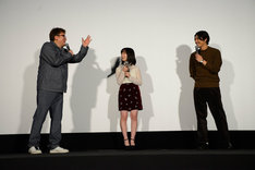 左から福田雄一、橋本環奈、賀来賢人。