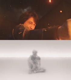 """ディーン・フジオカ演じるマスタング(上)、""""真理の扉""""をくぐった先にいる""""真理""""(下)。"""