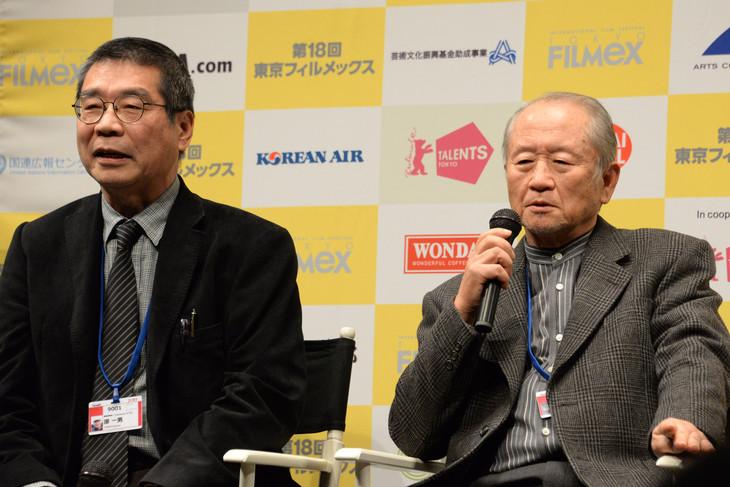 原一男(左)と柚岡一禎氏(右)。