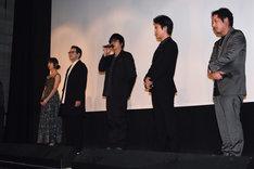 左から篠田麻里子、鈴木浩介、大森南朋、桐谷健太、入江悠。