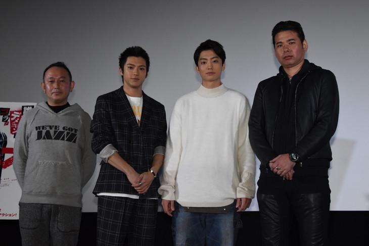 「デメキン」大ヒット御礼舞台挨拶の様子。左から足立紳、山田裕貴、健太郎、山口義高。