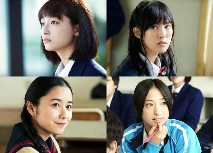 左上から時計回りに、吉川愛演じる杏奈、恒松祐里演じるまり、坂東希演じる千葉ちゃん、堀田真由演じるゆきりん。