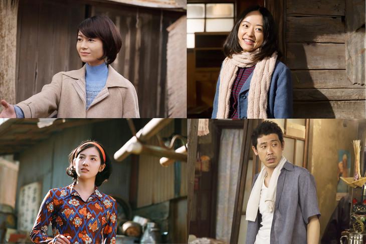 「焼肉ドラゴン」出演者。左上より時計回りに静花役の真木よう子、梨花役の井上真央、哲男役の大泉洋、美花役の桜庭ななみ。