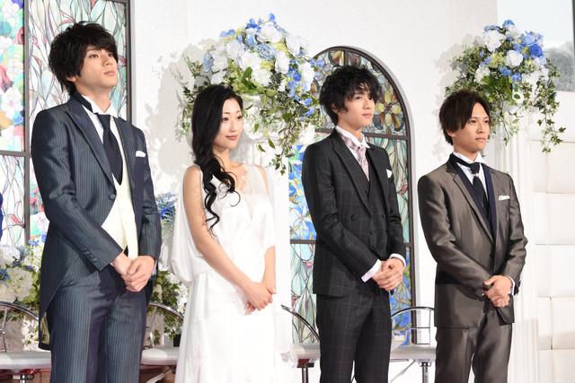 左から山田裕貴、壇蜜、飯島寛騎、岡田龍太郎。