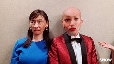 「レオン」キャストの入れ替わり画像。左から大政絢(顔は竹中直人)、竹中直人(顔は大政絢)。