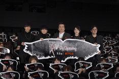 「B: The Beginning」ジャパンプレミアの様子。左から石川界人、梶裕貴、平田広明、瀬戸麻沙美、中澤一登。