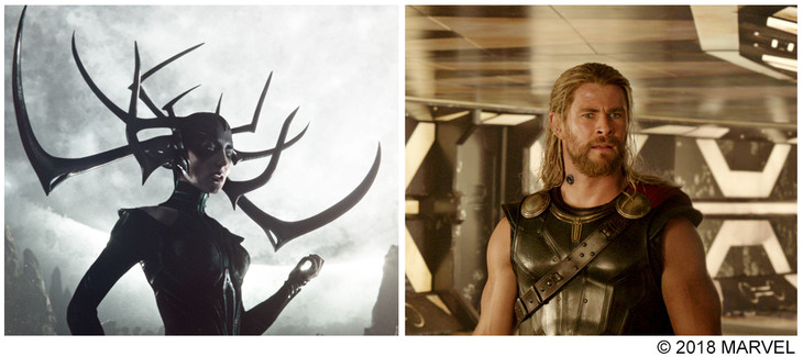 左からケイト・ブランシェット演じるヘラ、クリス・ヘムズワース演じるソー。