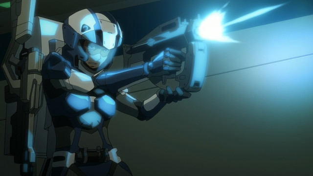 コイルガンを乱射して戦っているダイバーの「A.I.C.O.」の画像