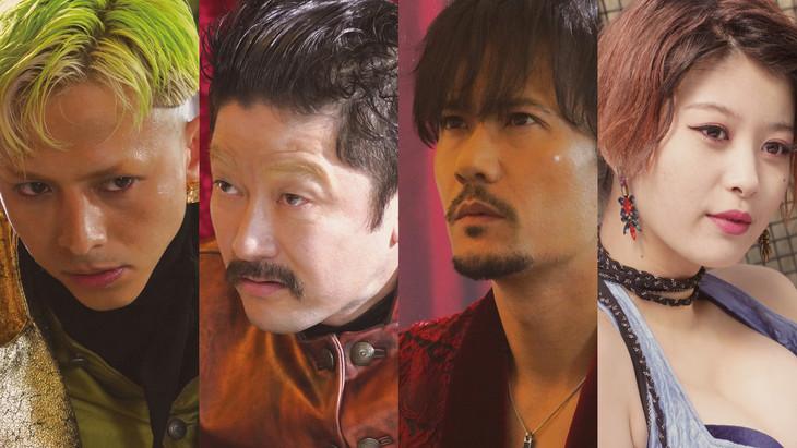 「ピアニストを撃つな!」より、左からキャストの満島真之介、浅野忠信、稲垣吾郎、馬場ふみか。
