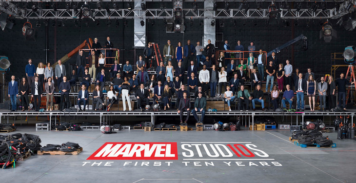 マーベル・シネマティック・ユニバース(MCU)10周年を記念した写真撮影の様子。 (c)2018MARVEL