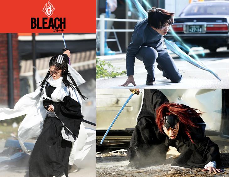 MIYAVI演じる朽木白哉(左)、吉沢亮演じる石田雨竜(右上)、早乙女太一演じる阿散井恋次(右下)。