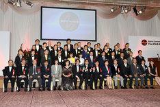 「デジタル・コンテンツ・オブ・ジ・イヤー'17 / 第23回AMDアワード」授賞式の登壇者たち。