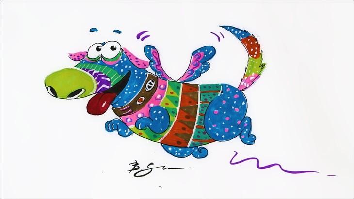 「リメンバー・ミー」のアレブリヘ風に描かれたダグ。