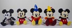 会場で販売されるぬいぐるみ。左からPlane Crazy、Vintage Style、Fantasia、Fun and Fancy Free、Modern Style(各1620円)。(c)Disney