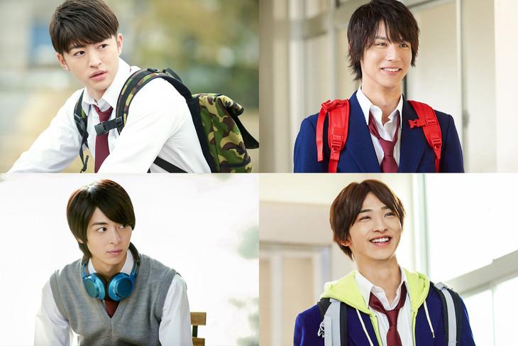 左上から時計回りに佐野玲於演じるなっちゃん、中川大志演じるまっつん、横浜流星演じる恵ちゃん、高杉真宙演じるつよぽん。