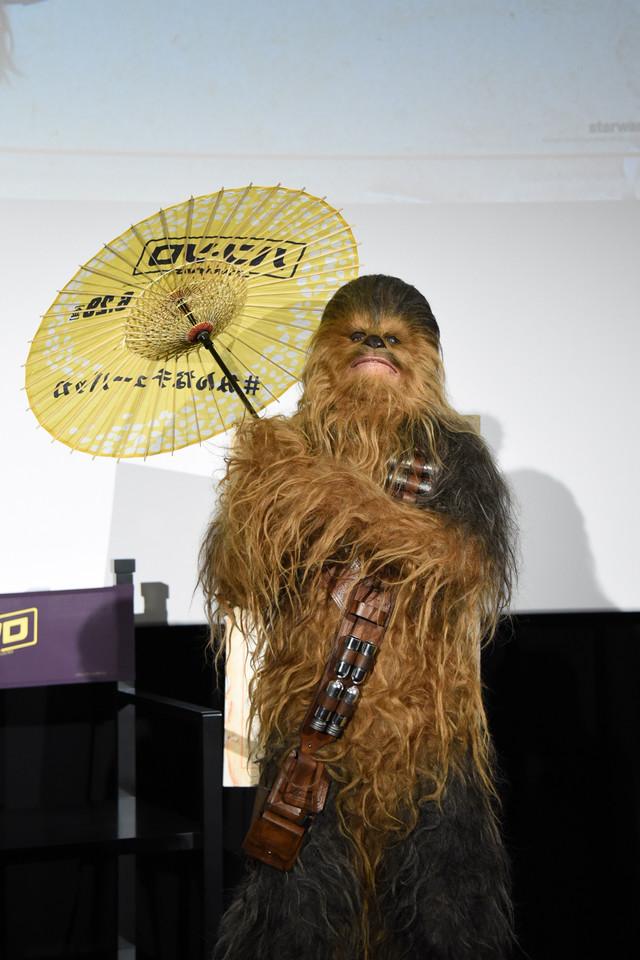 及川光博からもらった和傘を差すチューバッカ。
