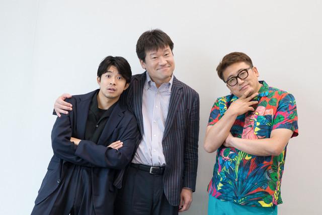 左から太賀、佐藤二朗、福田雄一。(撮影:佐藤友昭)
