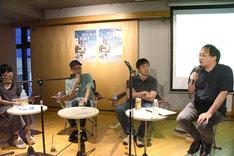 左から横浜聡子、真利子哲也、濱口竜介、深田晃司。
