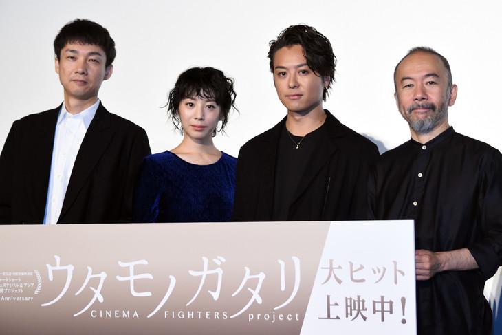「カナリア」舞台挨拶の様子。左から松永大司、夏帆、EXILE TAKAHIRO、塚本晋也。
