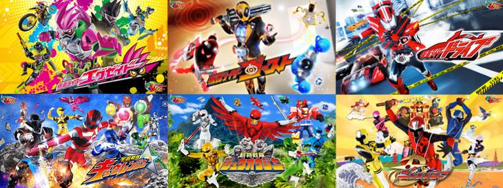 左上から時計周りに「仮面ライダーエグゼイド」「仮面ライダーゴースト」「仮面ライダードライブ」「手裏剣戦隊ニンニンジャー」「動物戦隊ジュウオウジャー」「宇宙戦隊キュウレンジャー」のビジュアル。