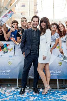 イタリア・ローマで現地時間7月20日に行われたイタリア・ジッフォーニ映画祭に参加したポール・ラッド(左)とエヴァンジェリン・リリー(右)。