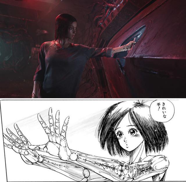 「アリータ:バトル・エンジェル」(上段)と「銃夢」(下段)。