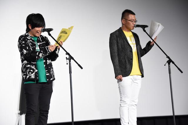 セリフを披露する山下大輝(左)、三宅健太(右)。