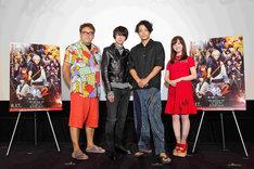 大阪舞台挨拶の様子。左から福田雄一、菅田将暉、小栗旬、橋本環奈。