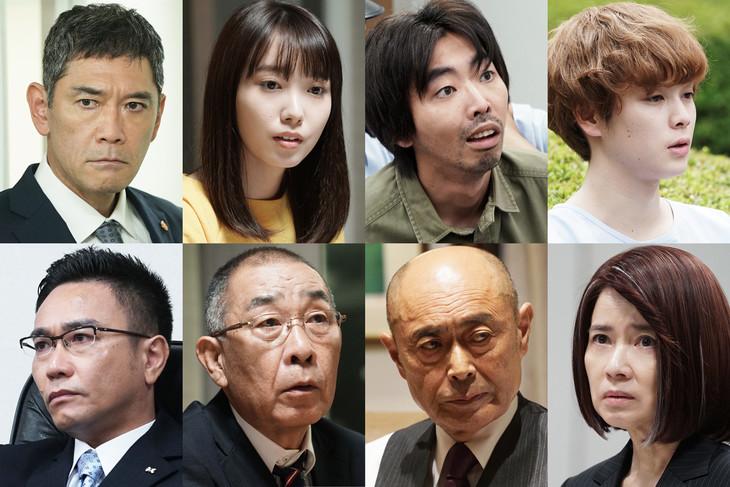 ドラマスペシャル「誘拐法廷~セブンデイズ~」の新たなキャスト。上段左から杉本哲太、飯豊まりえ、柄本時生、柾木玲弥。下段左から八嶋智人、でんでん、伊武雅刀、風吹ジュン。