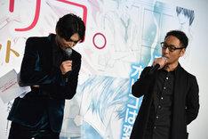 宮脇亮(右)の話に相づちを打つMC・吉沢亮(左)。