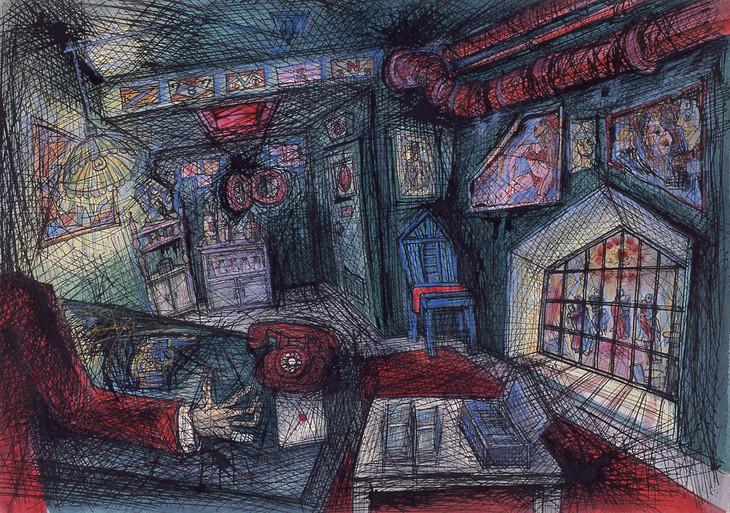 「東京流れ者」より「ジャズ喫茶マンホールの支配人室」(1972年頃)。