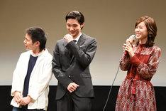 左から宮嵜瑛太、磯村勇斗、白石聖。