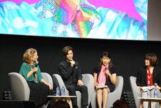 「プリティが多すぎる」上映後の舞台挨拶に登壇した千葉雄大(中央左)。