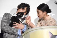 福士蒼汰(左)が抱くナナに猫用ミルクを飲ませようとする高畑充希(右)。
