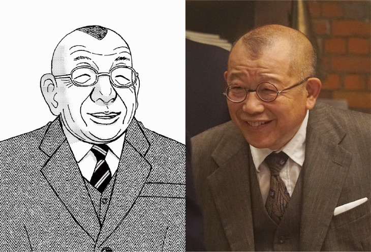 原作の鶴辺清(左)と笑福亭鶴瓶演じる大里清(右)。