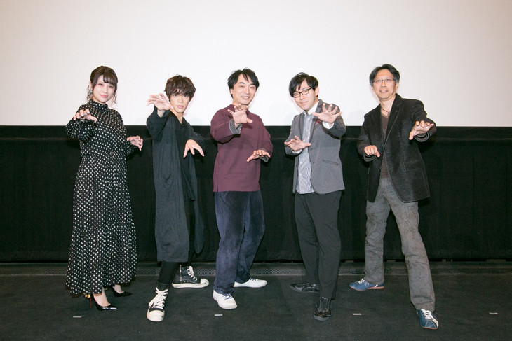 「力俥-RIKISHA-」一挙上映イベントの様子。左からあゆか、小野賢章、関智一、小野友樹、アベ ユーイチ。