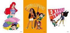 「シュガー・ラッシュ:オンライン」よりディズニープリンセスたちの私服ビジュアル。