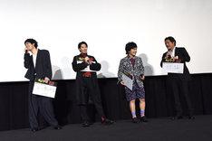 入江悠(右端)の「続編を作りたい」というコメントに、「やりたーい!」と声を上げるキャストたち。