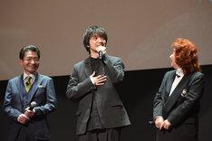 左から島田敏、三浦大知、野沢雅子。
