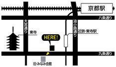 京都みなみ会館の移転後の地図。