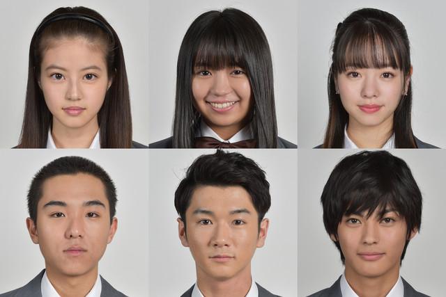 上段左から今田美桜、大原優乃、横田真悠。下段左から若林時英、飛田光里、神尾楓珠。