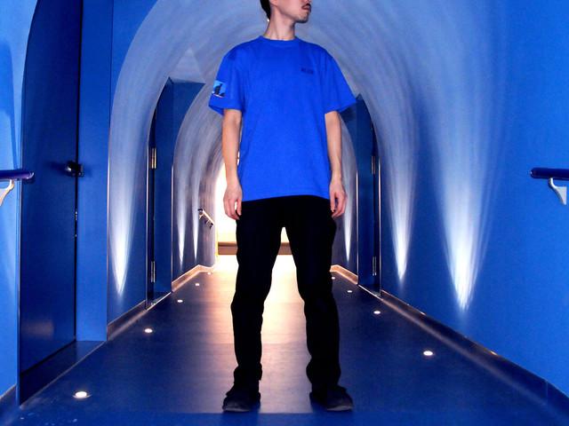 「BLUE」刺繍Tシャツ着用イメージ